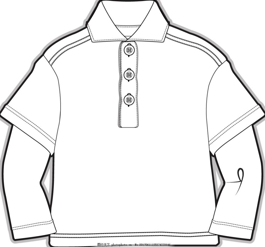 假两件长袖小男孩服装设计矢量素材 套头衫 服装设计 可爱 矢量 黑白