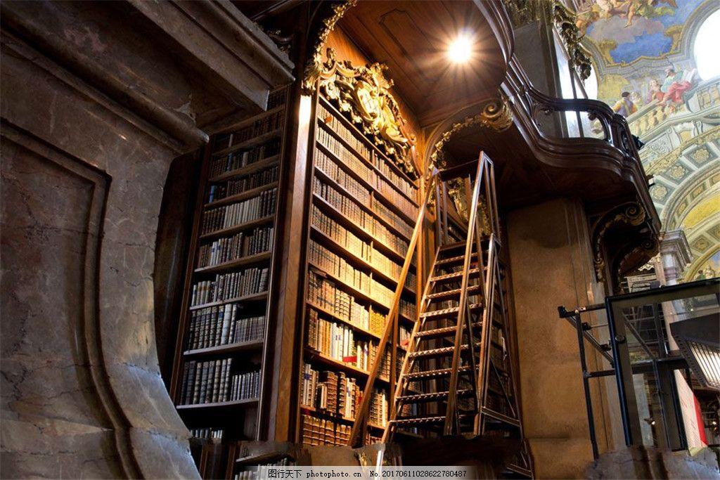 欧式风格的图书馆内景高清图片