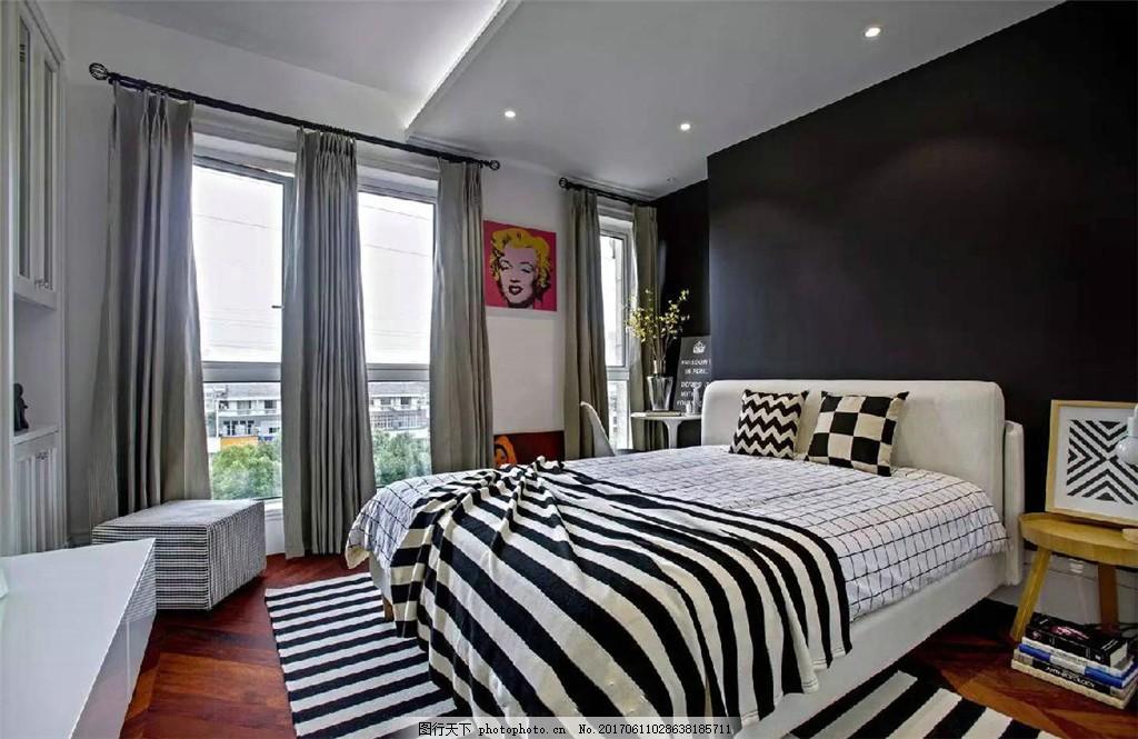 北欧现代主卧室装修效果图 室内设计 欧式装修效果图 时尚 奢华