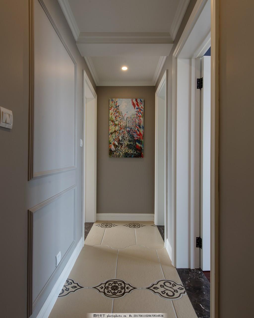 美式家居过道简装效果图 室内设计 家装效果图 美式装修效果图 时尚