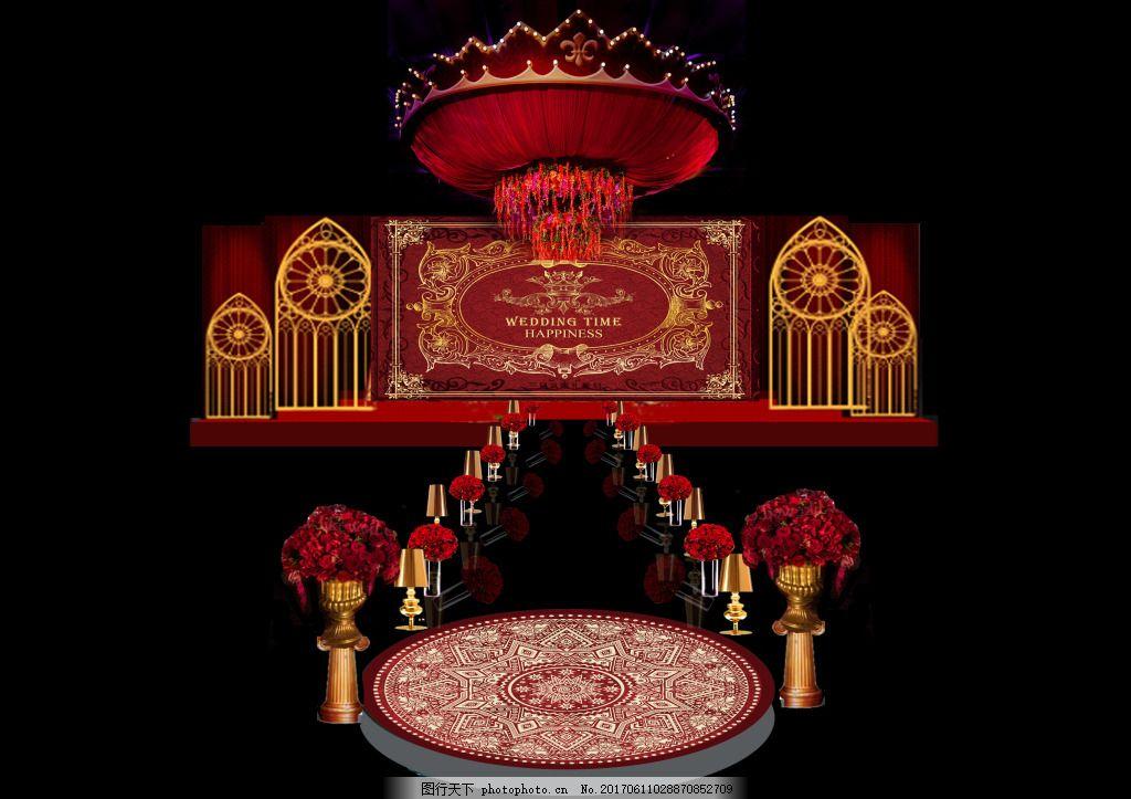 红金婚礼布置 婚礼效果图 红金色 欧式 皇冠