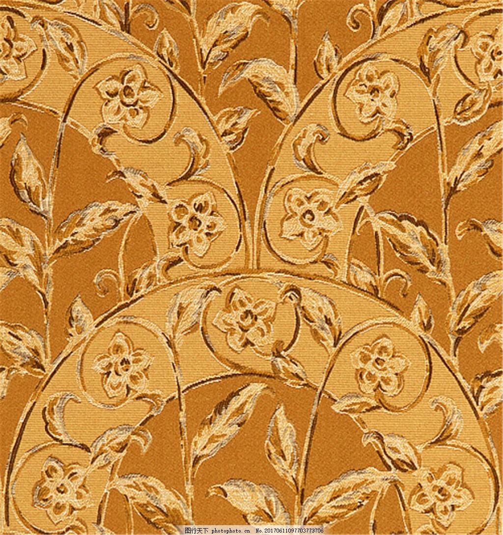 黄色花枝无缝壁纸 中式花纹背景 壁纸素材 无缝壁纸素材 欧式花纹