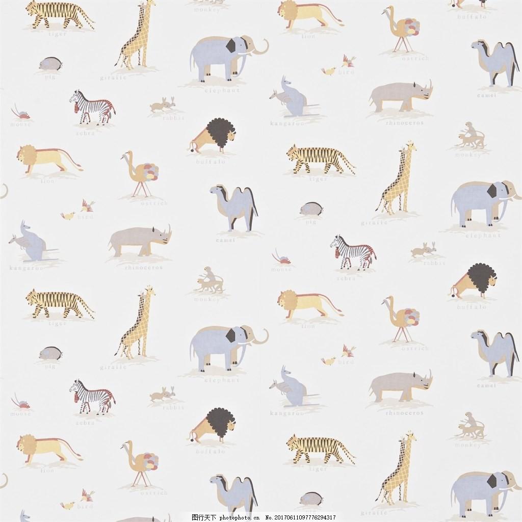 动物花纹布艺壁纸