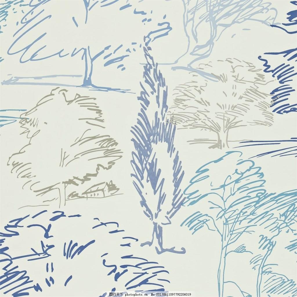 斜纹树木手绘壁纸素材 斜纹 彩色 树木 手绘 壁纸 森林 素材