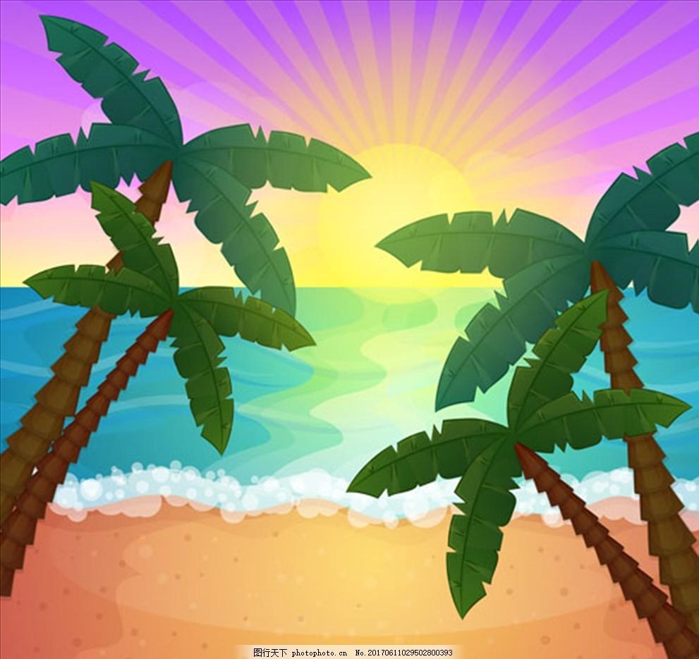 海螺 鲨鱼 海豚 鲸鱼 珊瑚 海星 贝壳 雨林 热带植物 棕榈叶 棕榈树