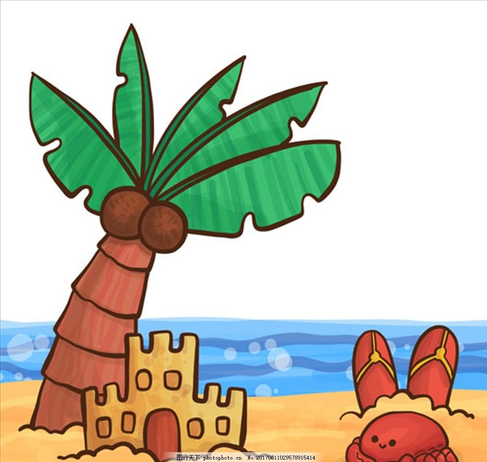手绘夏天海滩元素背景 夏天 鱼 海螺 鲨鱼 海豚 鲸鱼 珊瑚 海星 贝壳