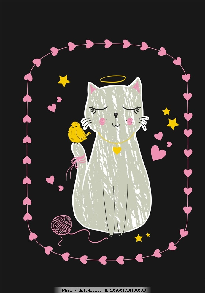 手绘图案 手绘猫咪 少女心图案 简约图案 天使环 爱心 心形 铃铛
