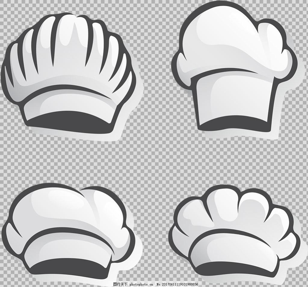 手绘白色厨师帽免抠png透明图层素材