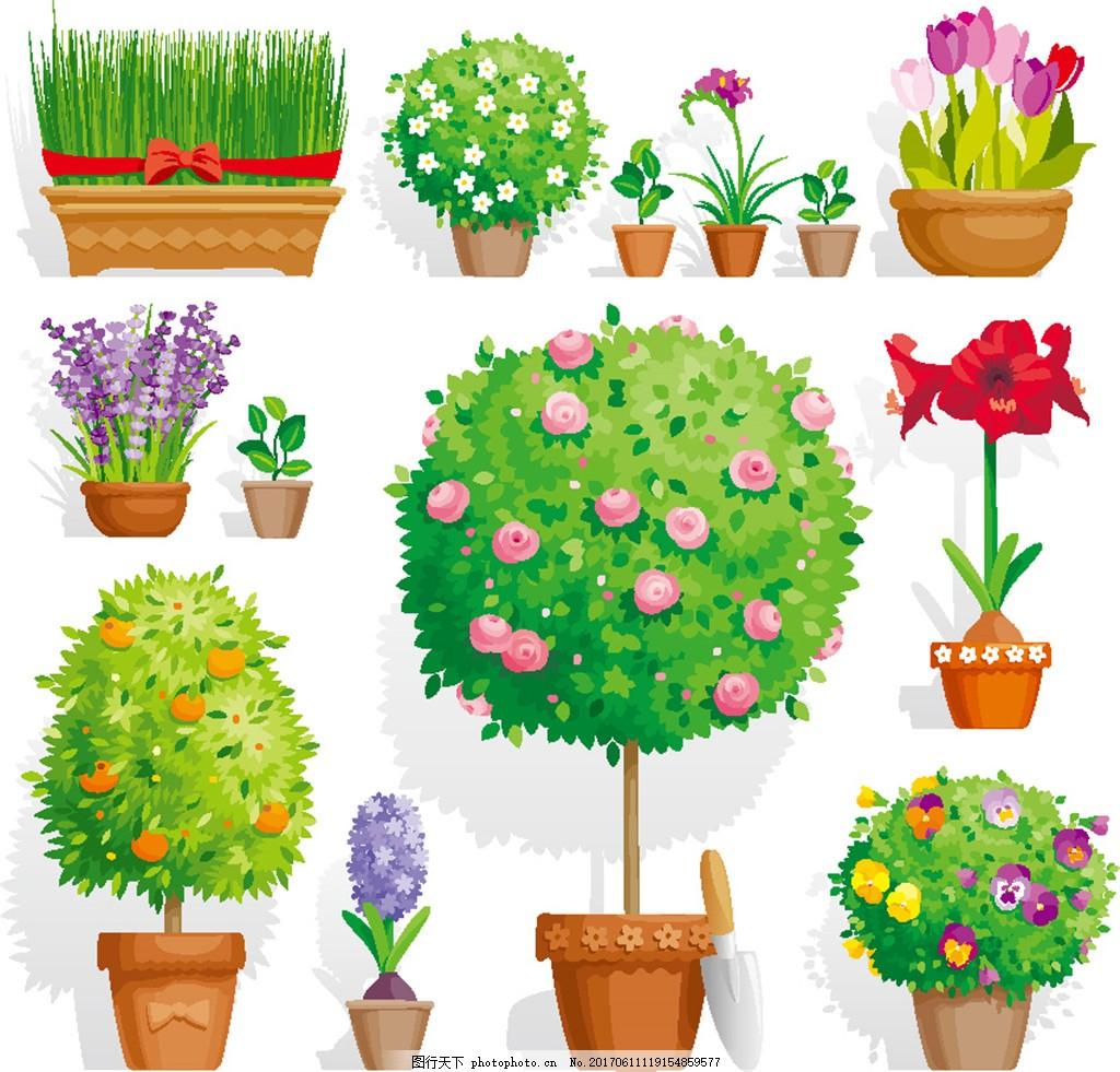 手绘绿色植物盆栽