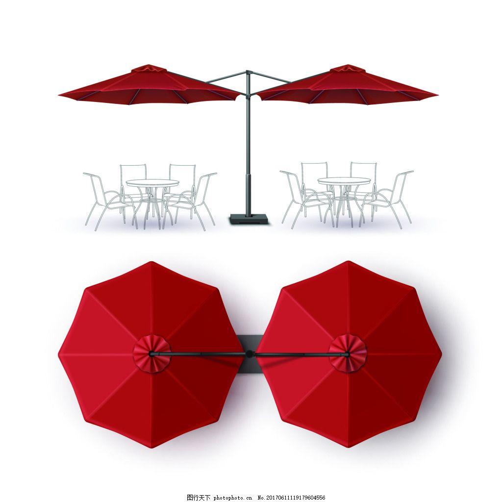 红色遮雨棚设计矢量素材