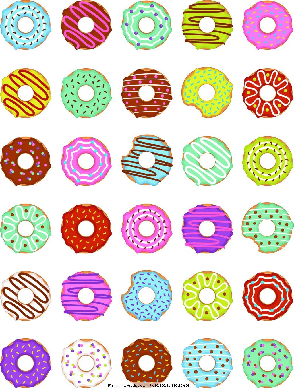 卡通甜蜜甜甜圈手绘卡通矢量图