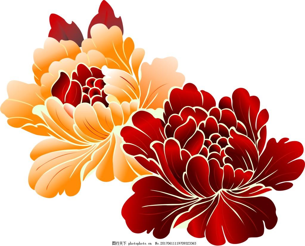 树叶纹理笔刷_牡丹花朵花纹图片_装饰图案_设计元素_图行天下图库
