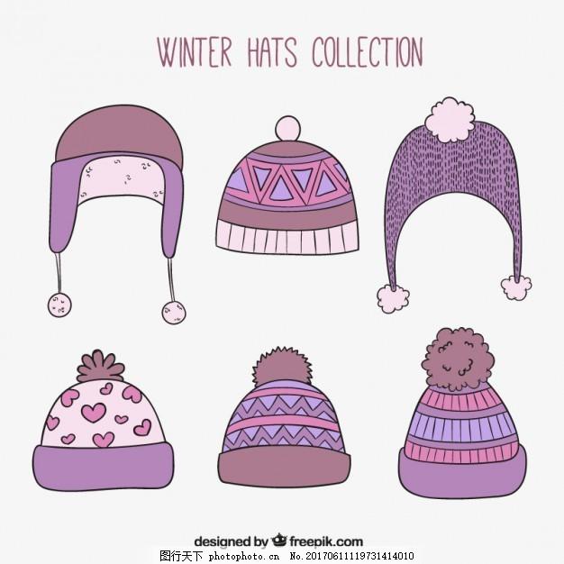 手绘冬季帽子系列