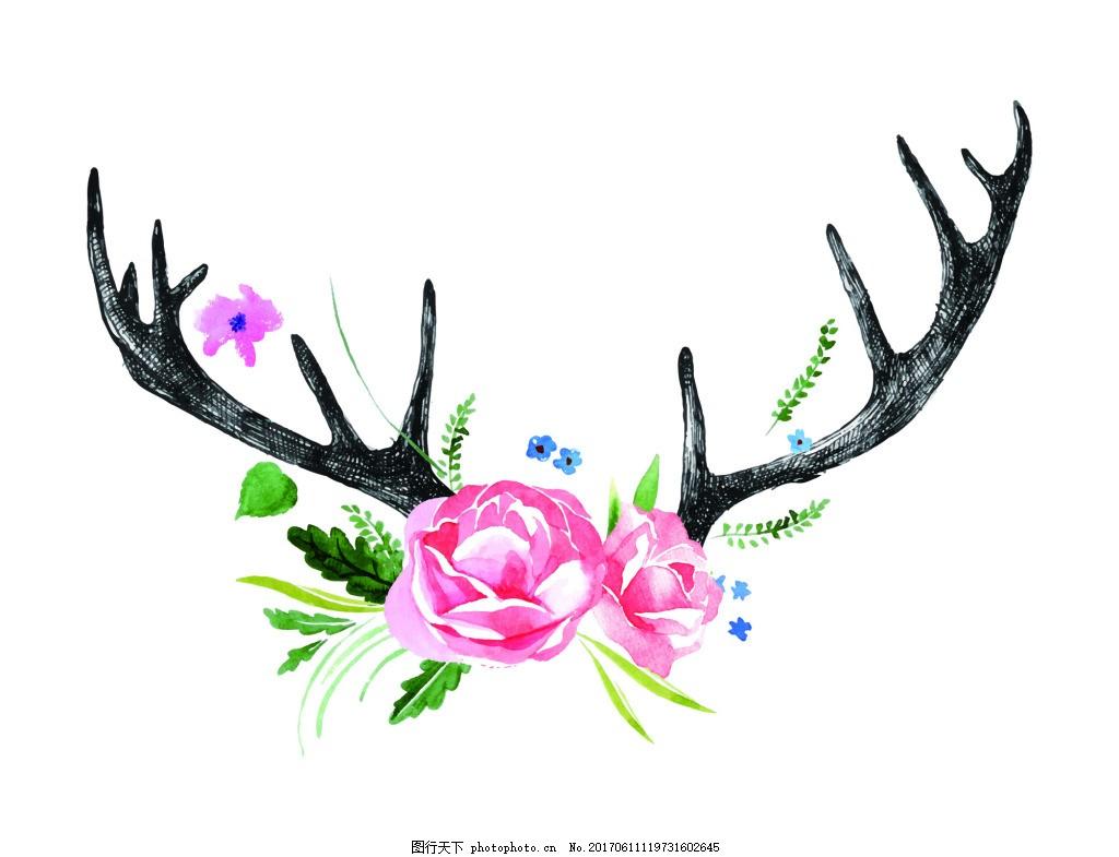 森系花朵鹿角小鹿手绘插画eps矢量素材