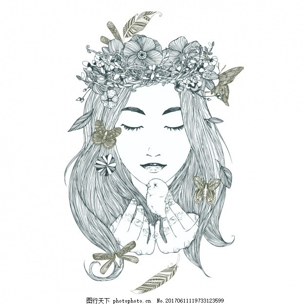 手绘womandesign 花卉 冠鸟脸 艺术 人头 肖像