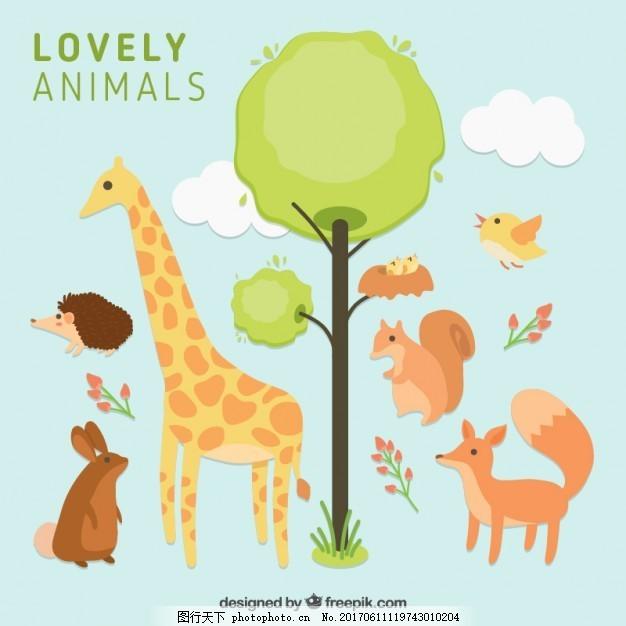 用树亲手画可爱的动物