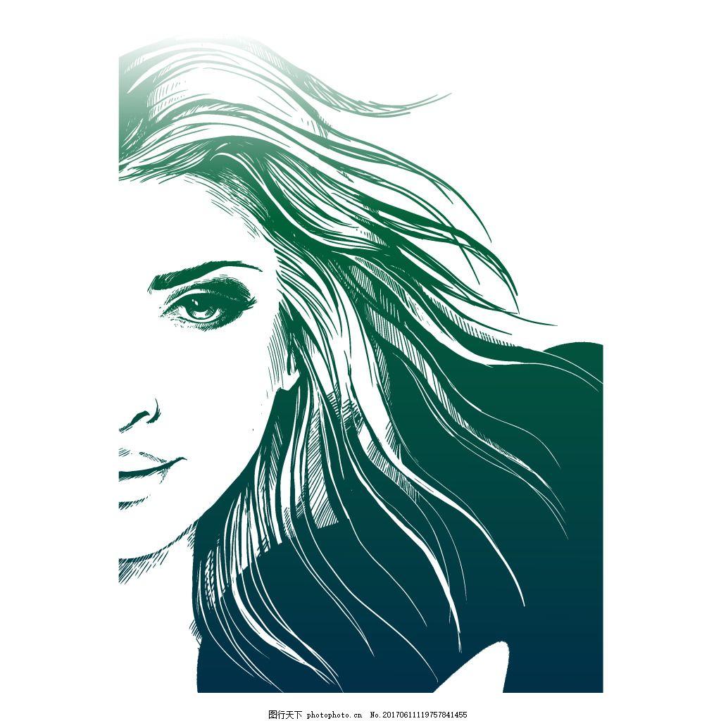 手绘人物素描元素 女士 人脸 头发