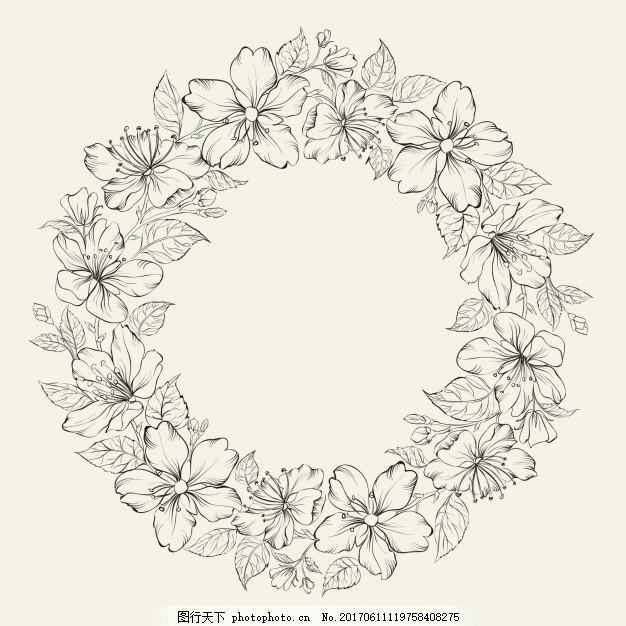 手画圆框 背景 花卉 框架 自然 花卉背景 手绘 春天 树叶 涂鸦