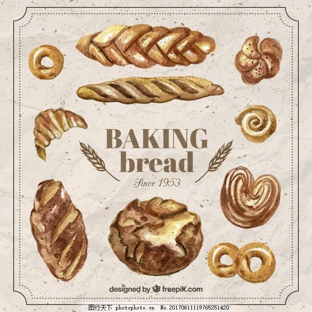手绘写实烘焙面包