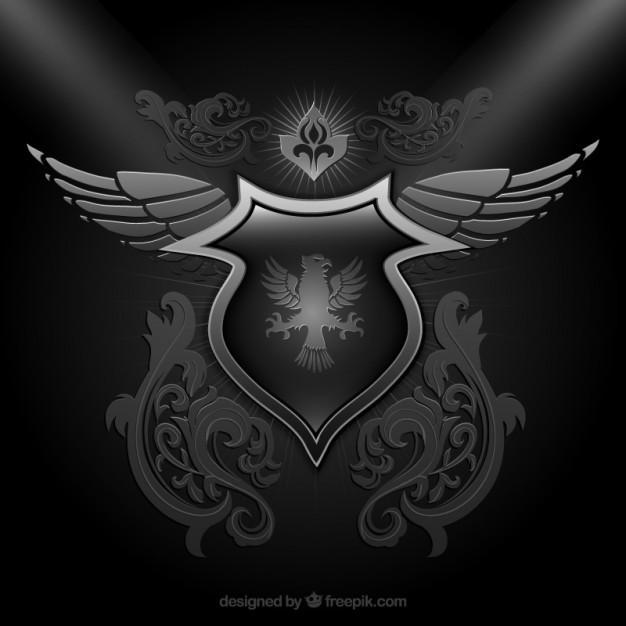 黑色装饰盾 盾牌 颜色 翅膀 鹰 徽章 华丽