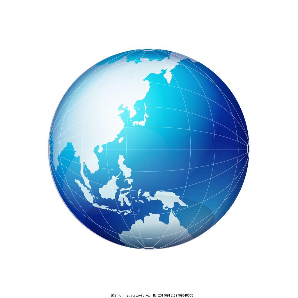 手绘蓝色地球元素