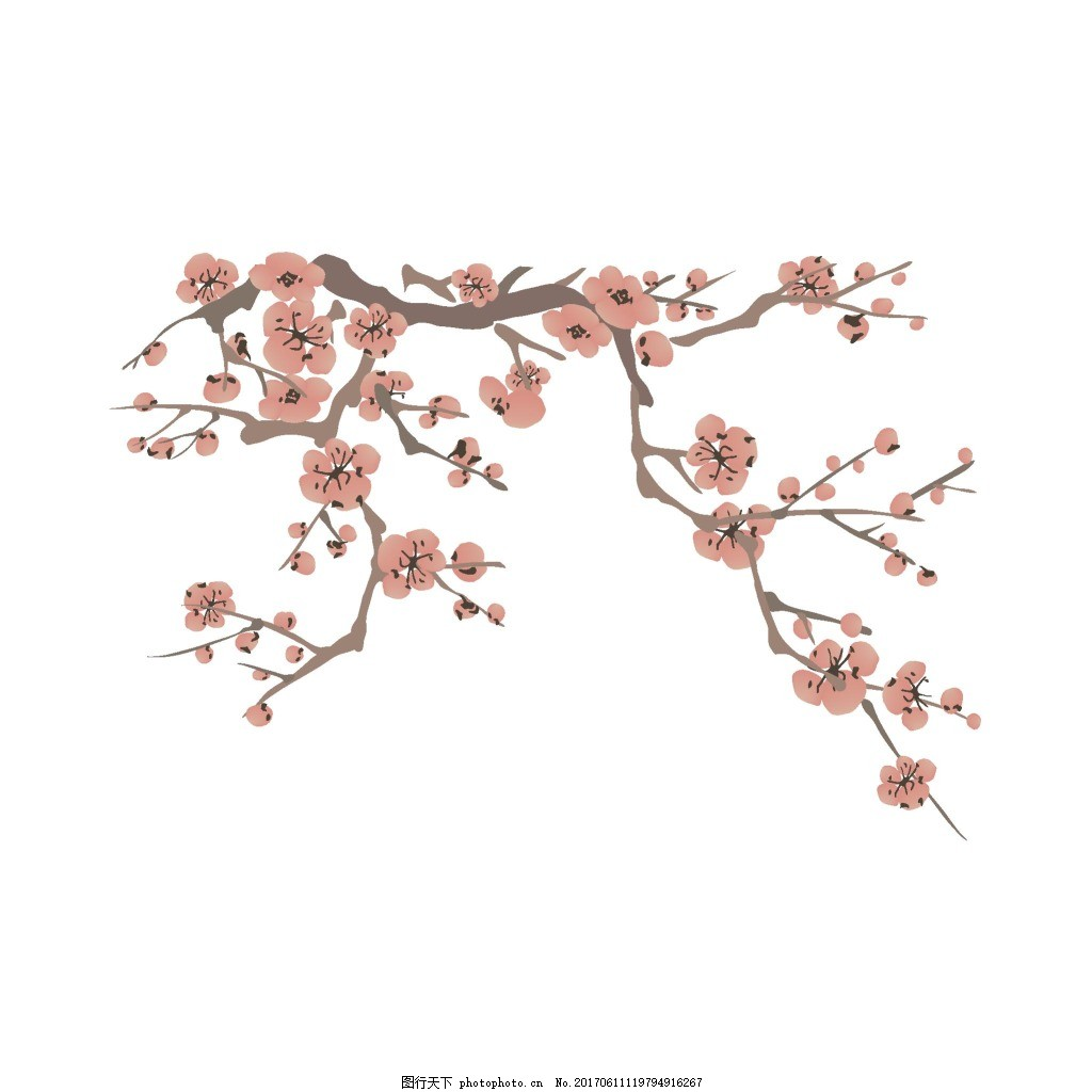手绘梅花树枝元素 手绘 中国风 水墨 梅花 树枝 素材