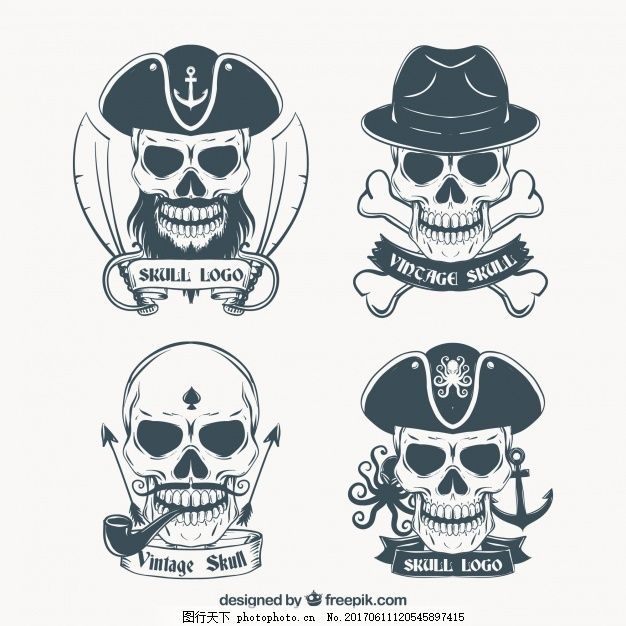 手绘骷髅标志