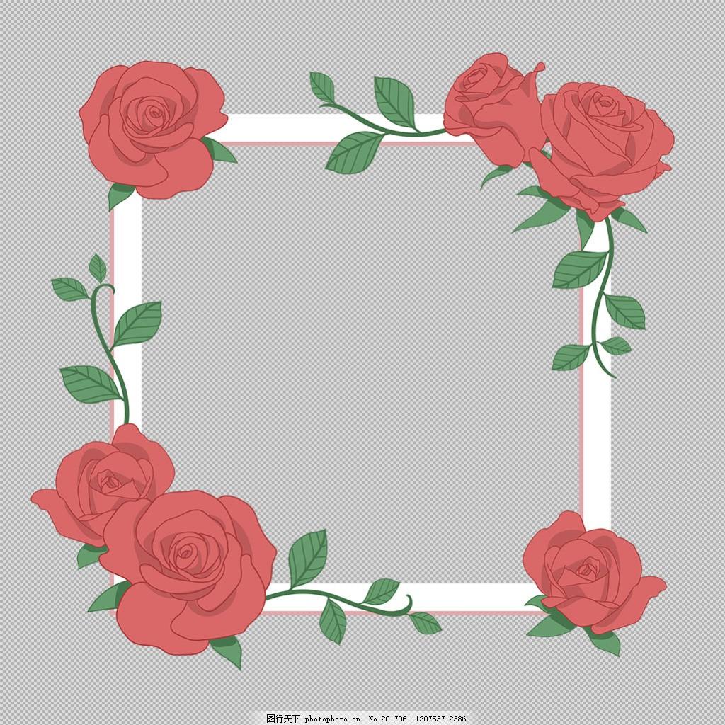 鲜花绿叶边框免抠png透明图层素材 淘宝边框花边 花纹素材 欧式花纹
