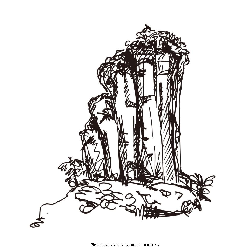 武夷山玉女峰风景山线描山水手绘山峰五指山