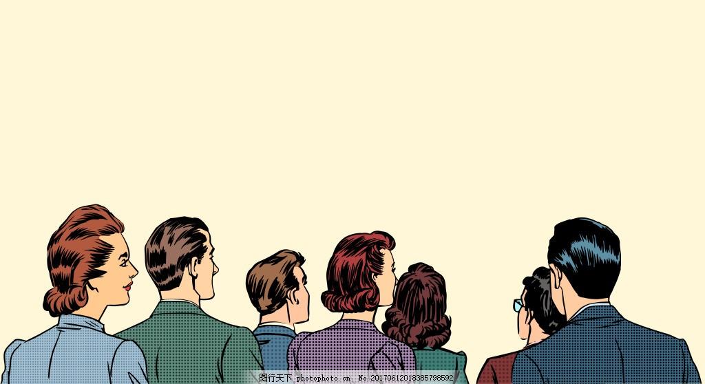 商务人物背影插画 人物 手绘 商务 男士 女生 背影 插画 漫画