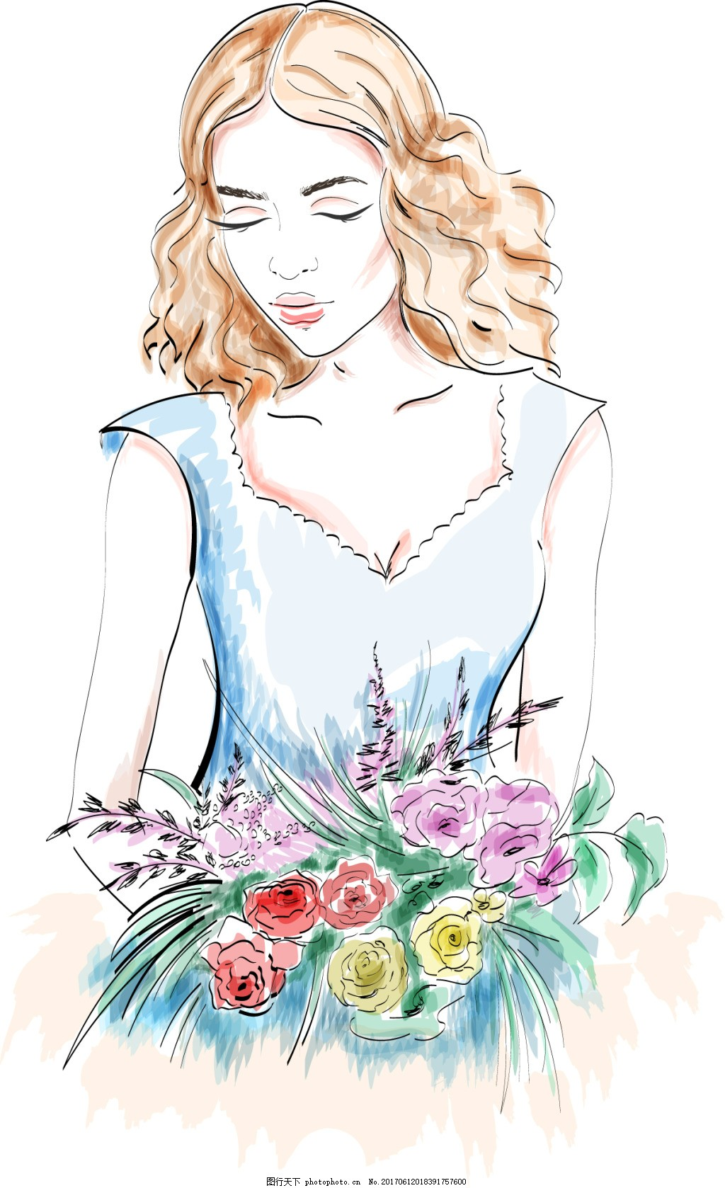 手绘美女人物 插画 水彩绘 花束 安静 唯美
