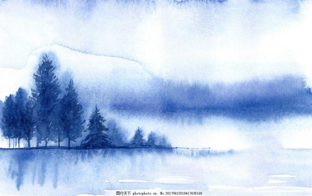 朦胧水彩画冬季森林河边矢量素材 水墨 远山 蓝色 卡通 山脉 风景