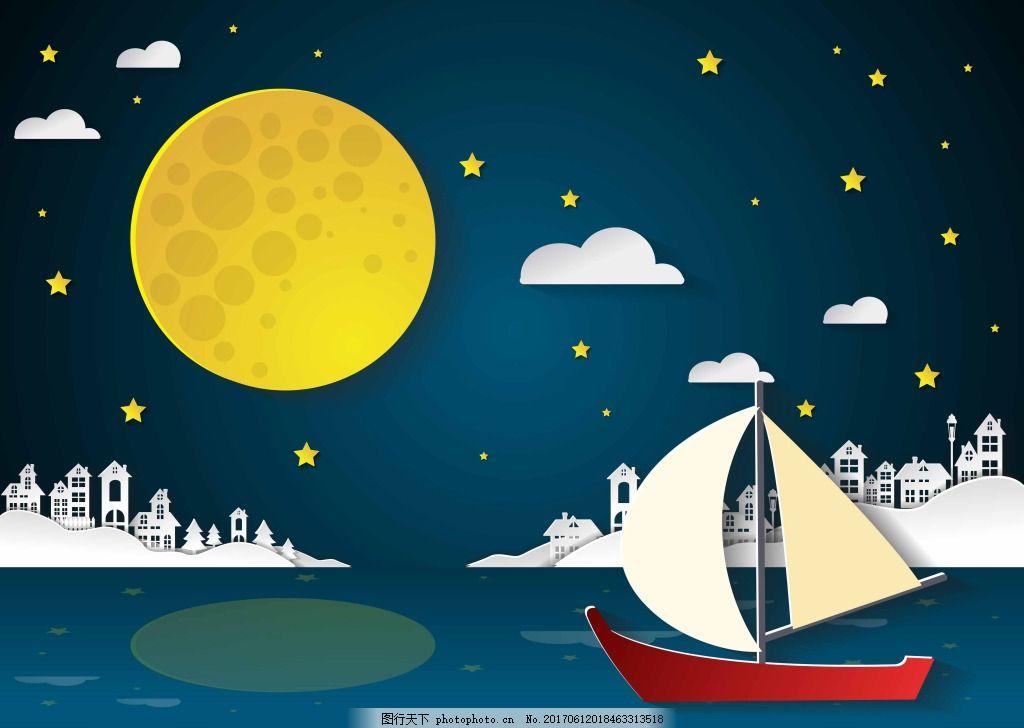 大海上的帆船插画 风景 城市 建筑 大海 月亮 夜晚 帆船 云朵 插画图片