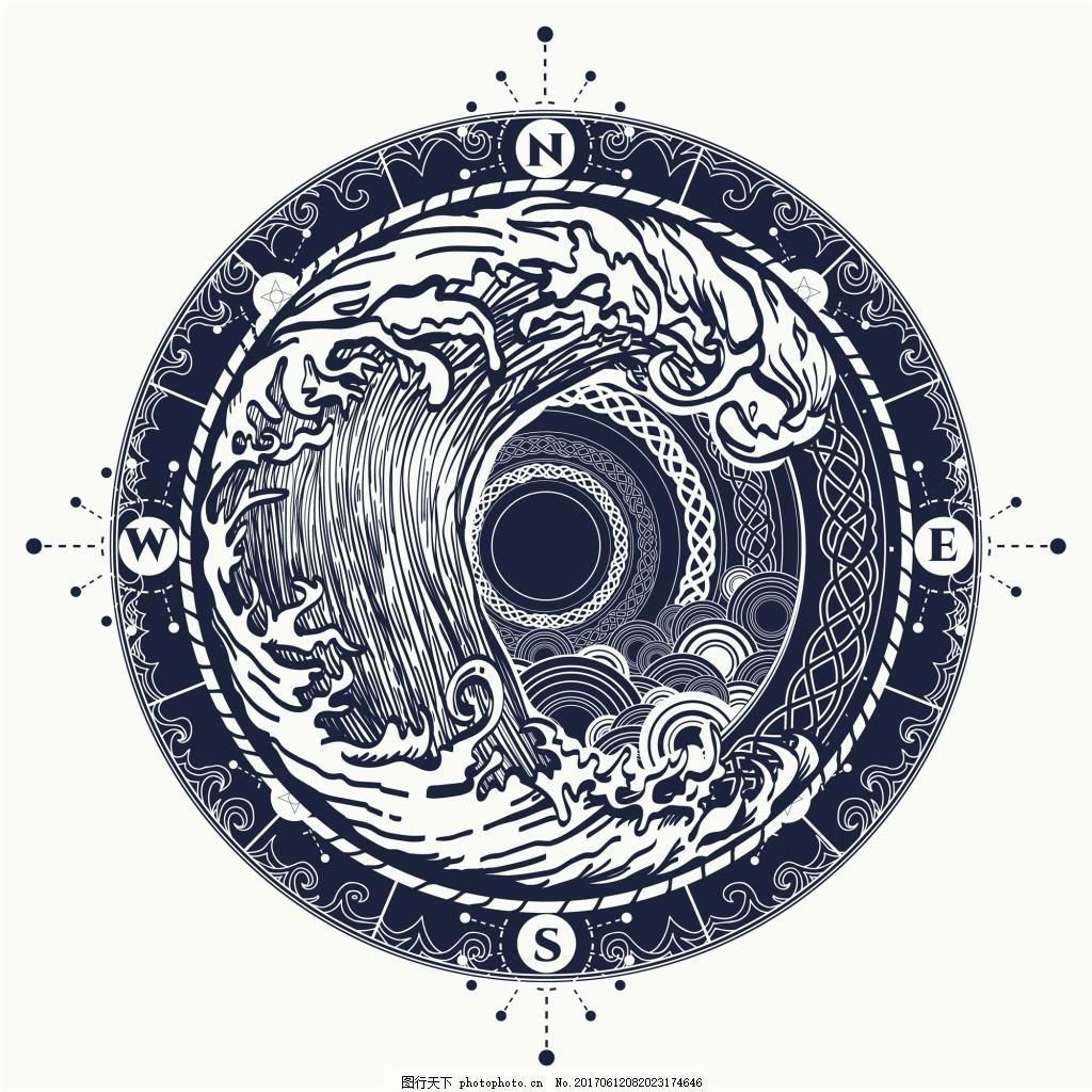 圆形海浪纹身图案创意矢量 素材 浪花 波浪 铅笔画 抽象 艺术 插画 剪