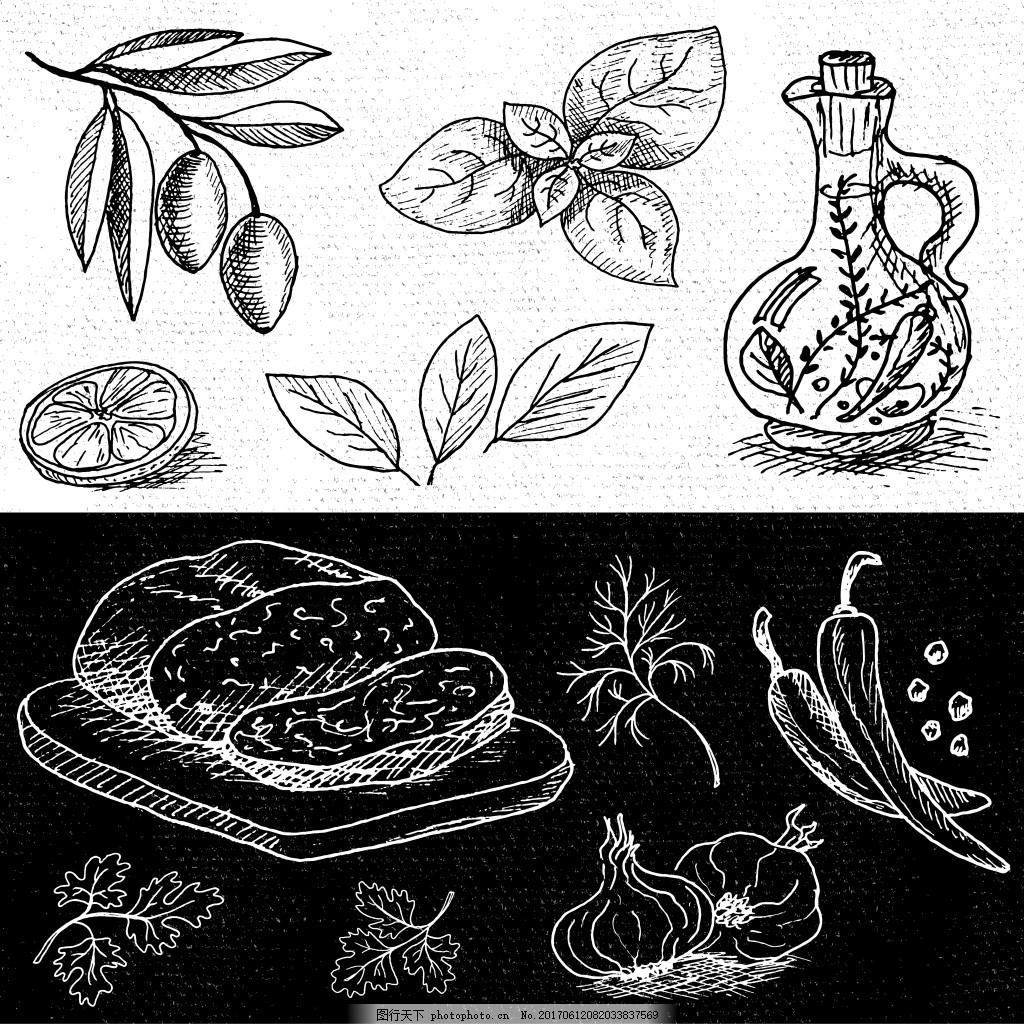 手绘线描中国美食