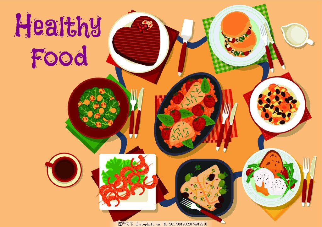 卡通美食饮食俯拍手绘扁平化矢量 桌面 摆拍 食物元素 手绘食物