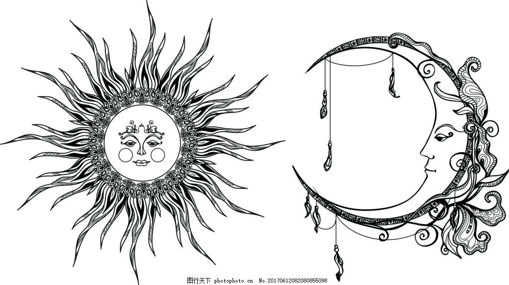 太阳和月亮纹身图案矢量 拟人 黑白 欧美 手绘 艺术 精细 铅笔画 纹理