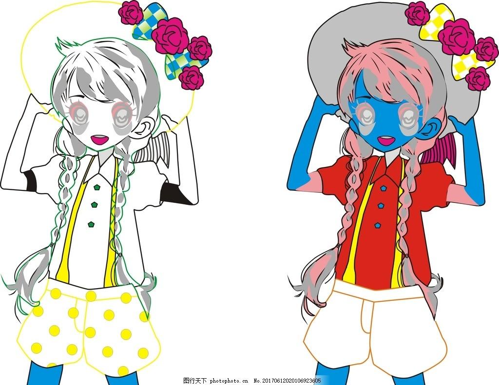 红花女孩 卡通 矢量图 免费下载 动物 可爱 手绘图 背景图案