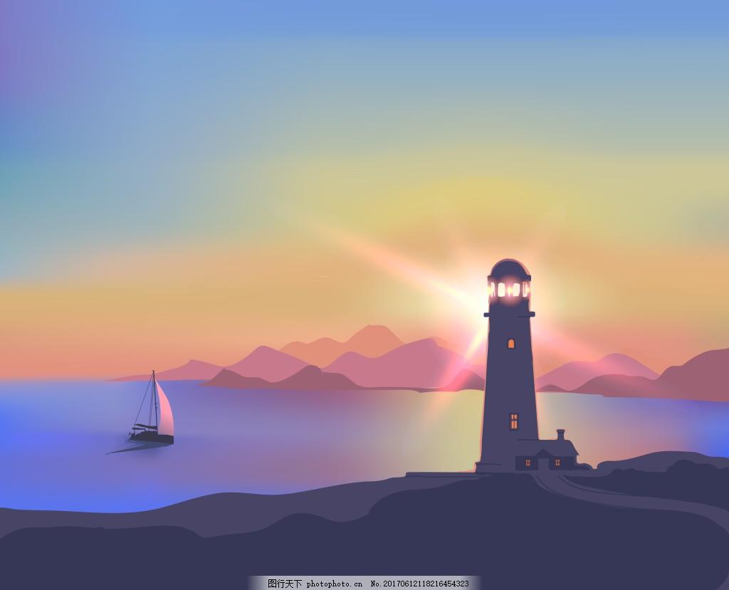 夕阳帆船海洋灯塔航海矢量源文件设计素材