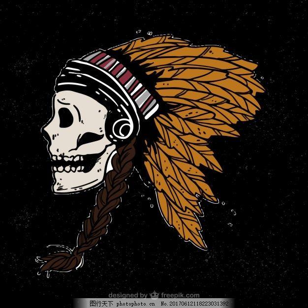 黑色背景与印度头骨插图 手 手绘 装饰 绘画 骷髅 羽毛 古董