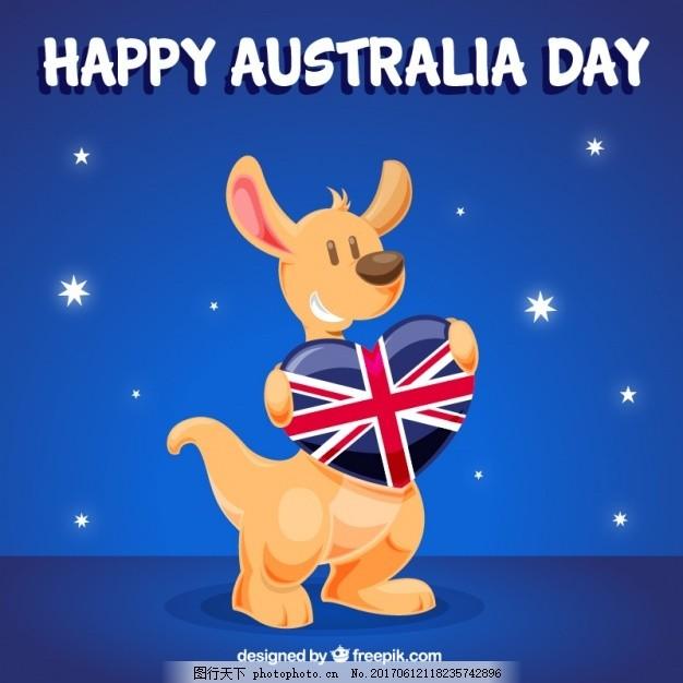 袋鼠庆祝澳大利亚日的背景,心脏 动物 国旗 快乐 星星