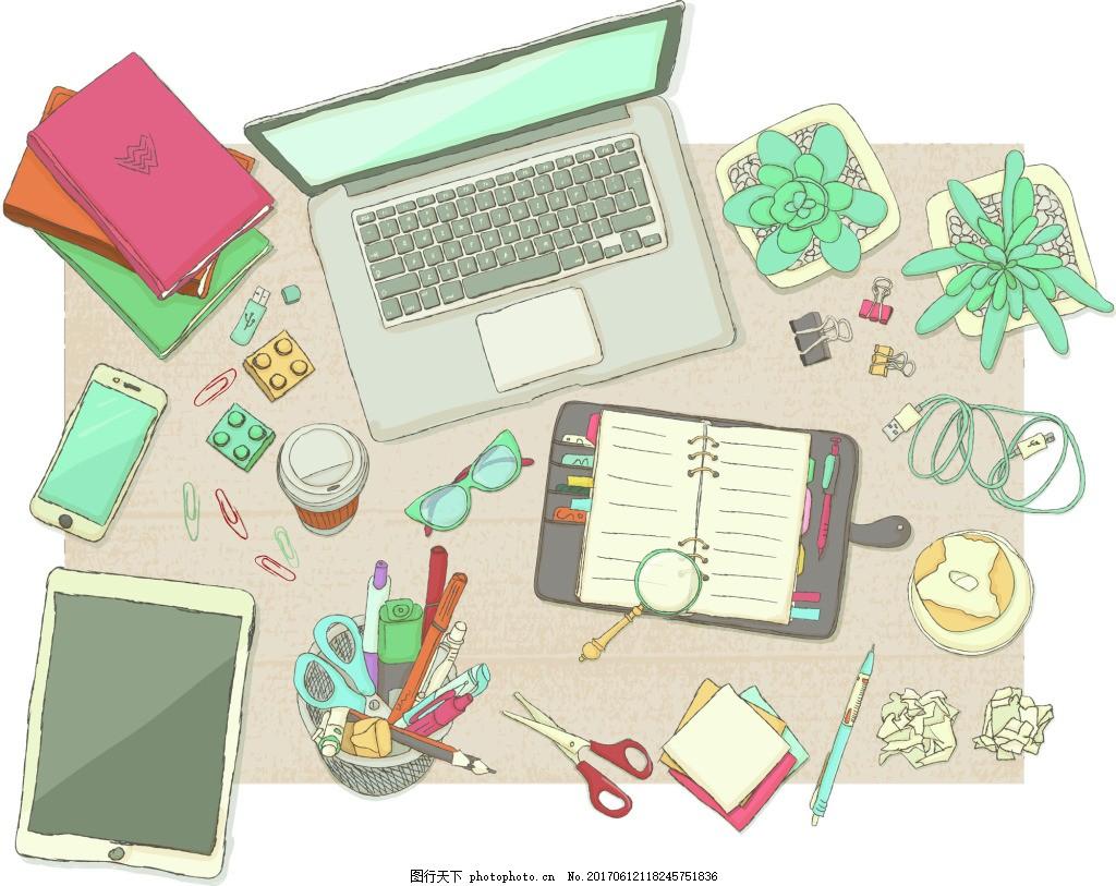 笔记本卡通手绘办公桌面矢量素材插画 书本 剪刀 俯拍 办公 桌面 手绘