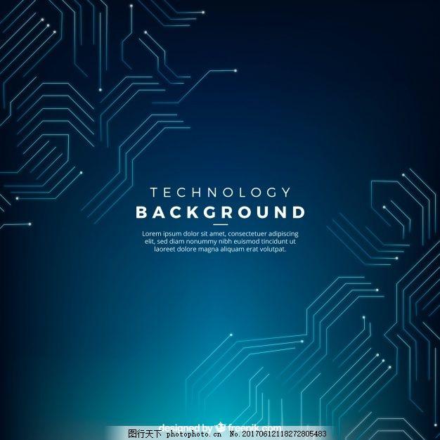 深蓝色背景与工艺电路 抽象背景 技术 计算机 几何 线条 颜色