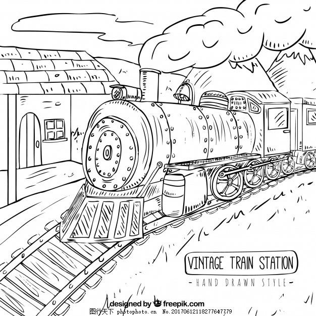 手绘火车站 背景 旅游 手拉 绘图 速度 运输 机器 旅行 发动机