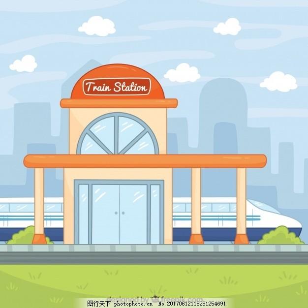 设计图库 底纹边框 广告背景  手绘火车站背景 的背景下 旅游 一方面