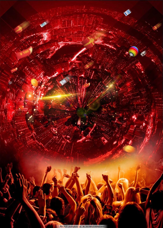 热气球欢呼的人群红色背景素材 高光 光晕