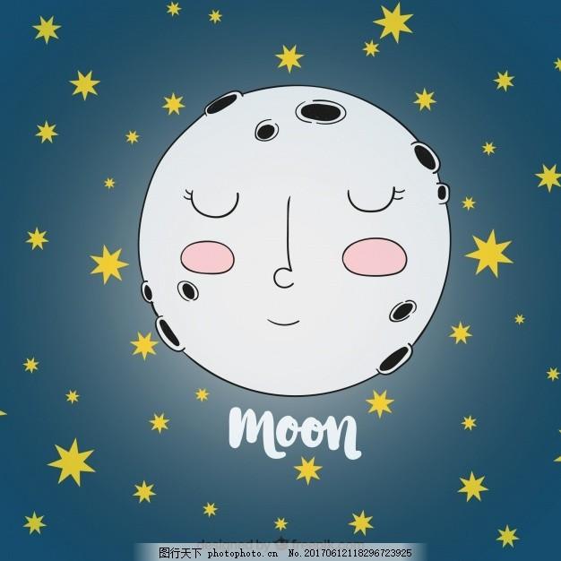 手绘月亮背景和星星