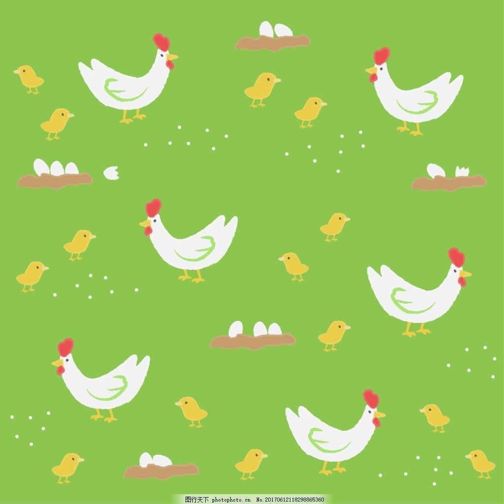 绿色卡通动物装饰图案 抽象花纹 花纹 服装 纹理 矢量花纹 卡通 欧美