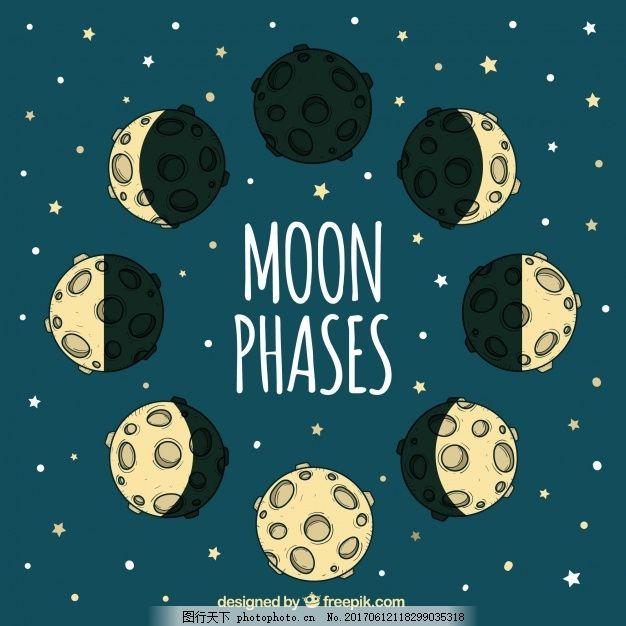 星空背景与手绘月相