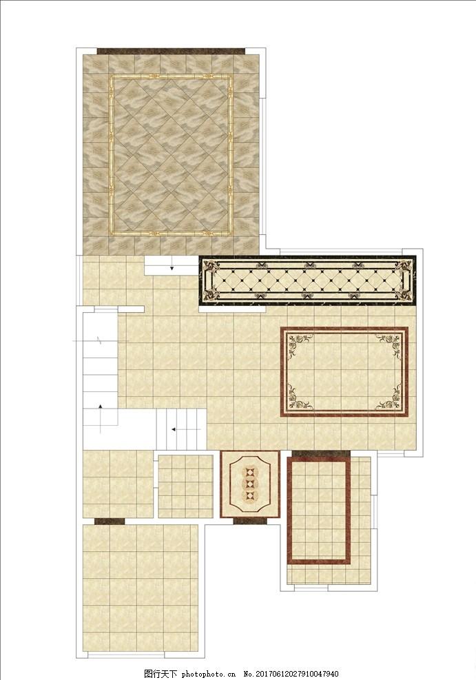 小型別墅一樓地面鋪裝圖